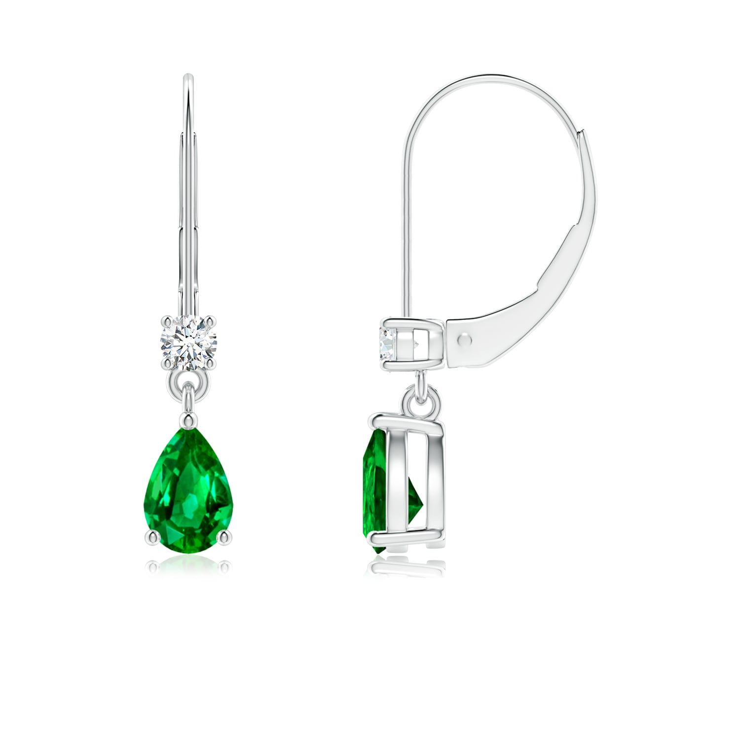 51cab43997cb4 Pear Emerald Leverback Drop Earrings with Diamond in 2019 | EARRINGS ...