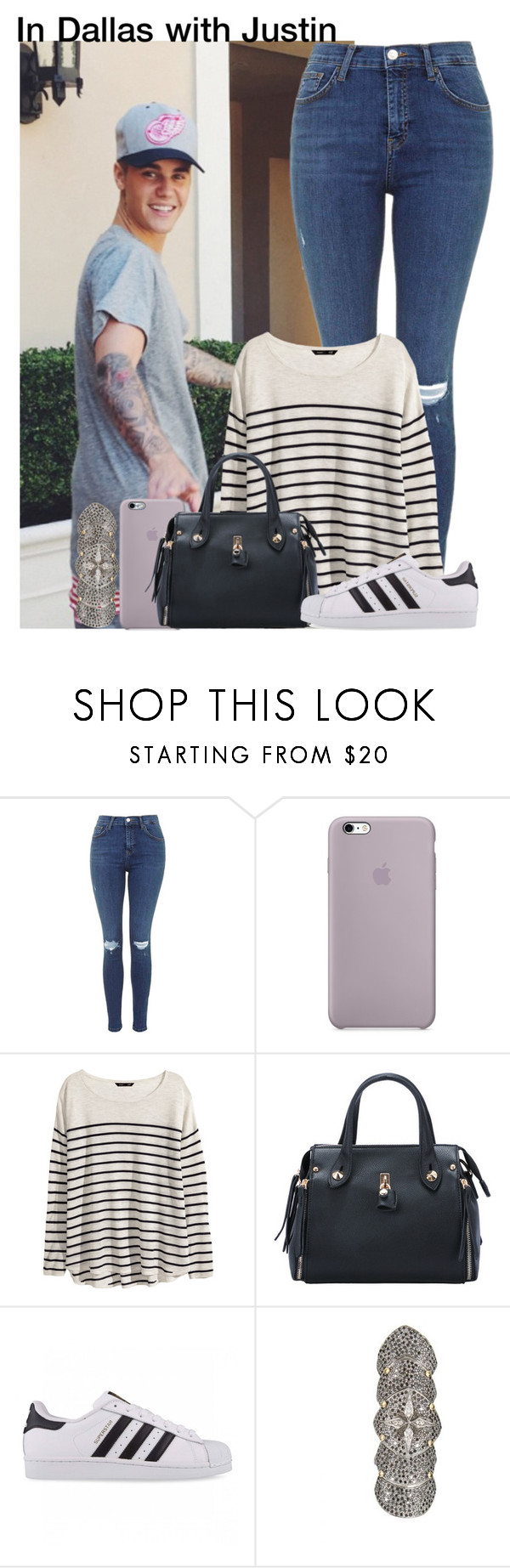 """In Dallas with Justin"" by irish26-1 ❤ liked on Polyvore featuring moda, H&M, adidas Originals e Catherine Angiel"