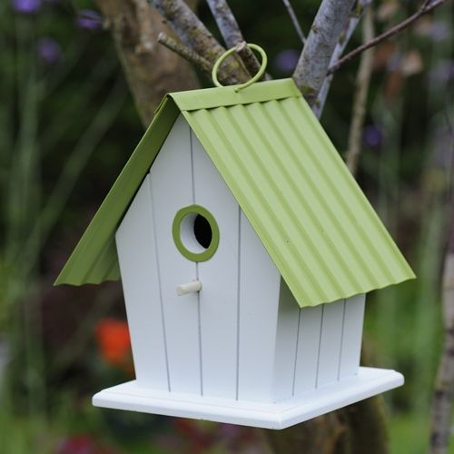 Beautiful Green and White Birdhouse