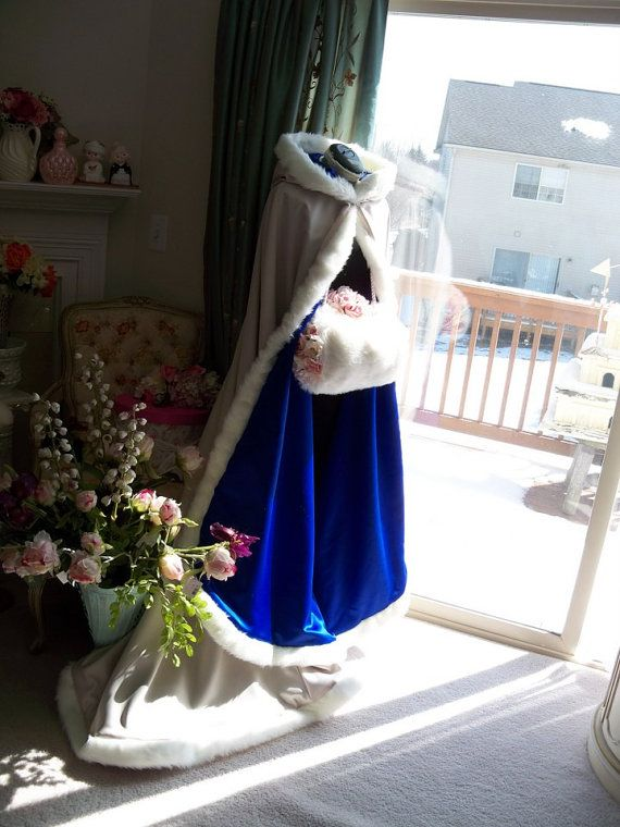 Beauty And The Beast Cobalt-Blue / IVORY Satin by capeandcrown13