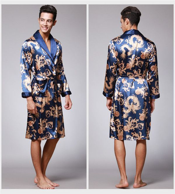 2016 spring summer new luxury print silk robe male bathrobe mens kimono  bath gown mens silk robes dressing gowns D7-AD16 9ceb38a39