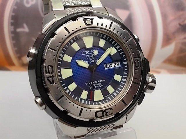 Big seiko 5 sports divers day date automatic mens watch 7s36-02s0 b1f8e5d42b