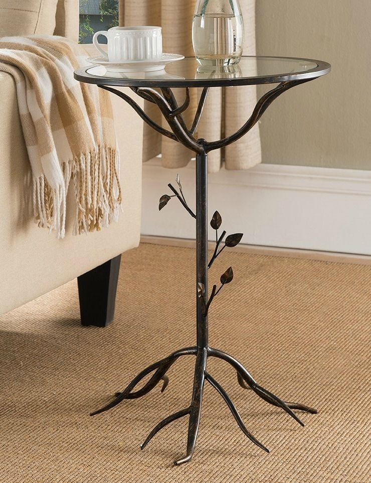 Side End Table Glass Top Small Plant Stand Metal Tree Branch