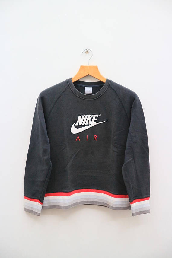 Vintage Nike Air Big Logo Big Spell Sportswear Black Pullover Sweatshirt Sweater Size L Vintage Nike Sweatshirt Black Pullover Sweatshirts Sweatshirts