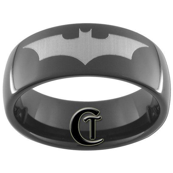 Modern Tungsten Mans Engagement Ring With Dark Knight Symbol Chic