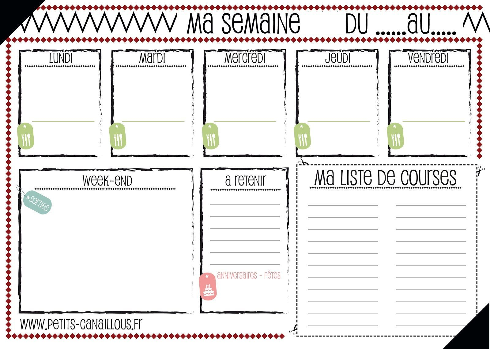 Planning Vierge Menu De La Semaine French Organizer Menu