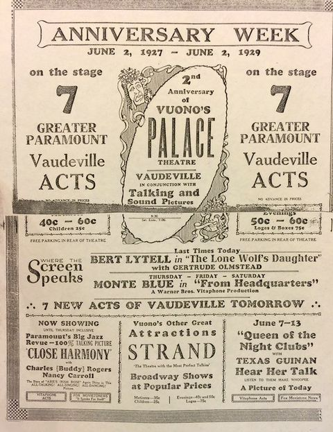 June 2 1929 Advertisement Celebrating Vuono S Palace Theatre S 2nd Anniversary Presenting 7 New Acts Of Vaudeville Palace 2nd Anniversary 7th Anniversary