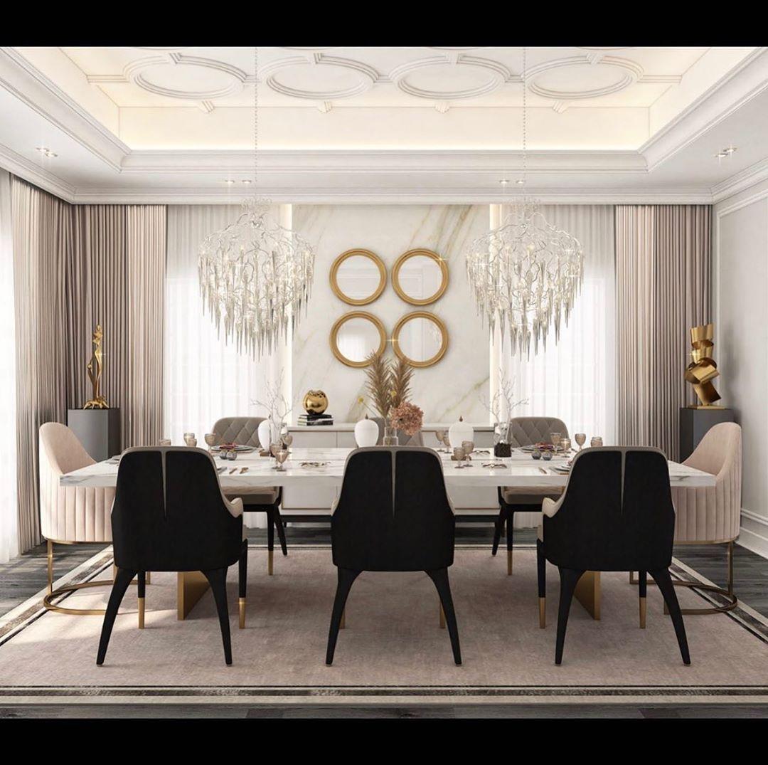"Interior Design ▪️ Home Decor on Instagram: ""Design: @thehauteinteriors  Follow @olla_home for more inspiration❤️ • • • • • • #diningroomdecor #diningroominspo #diningroomdesign…"""