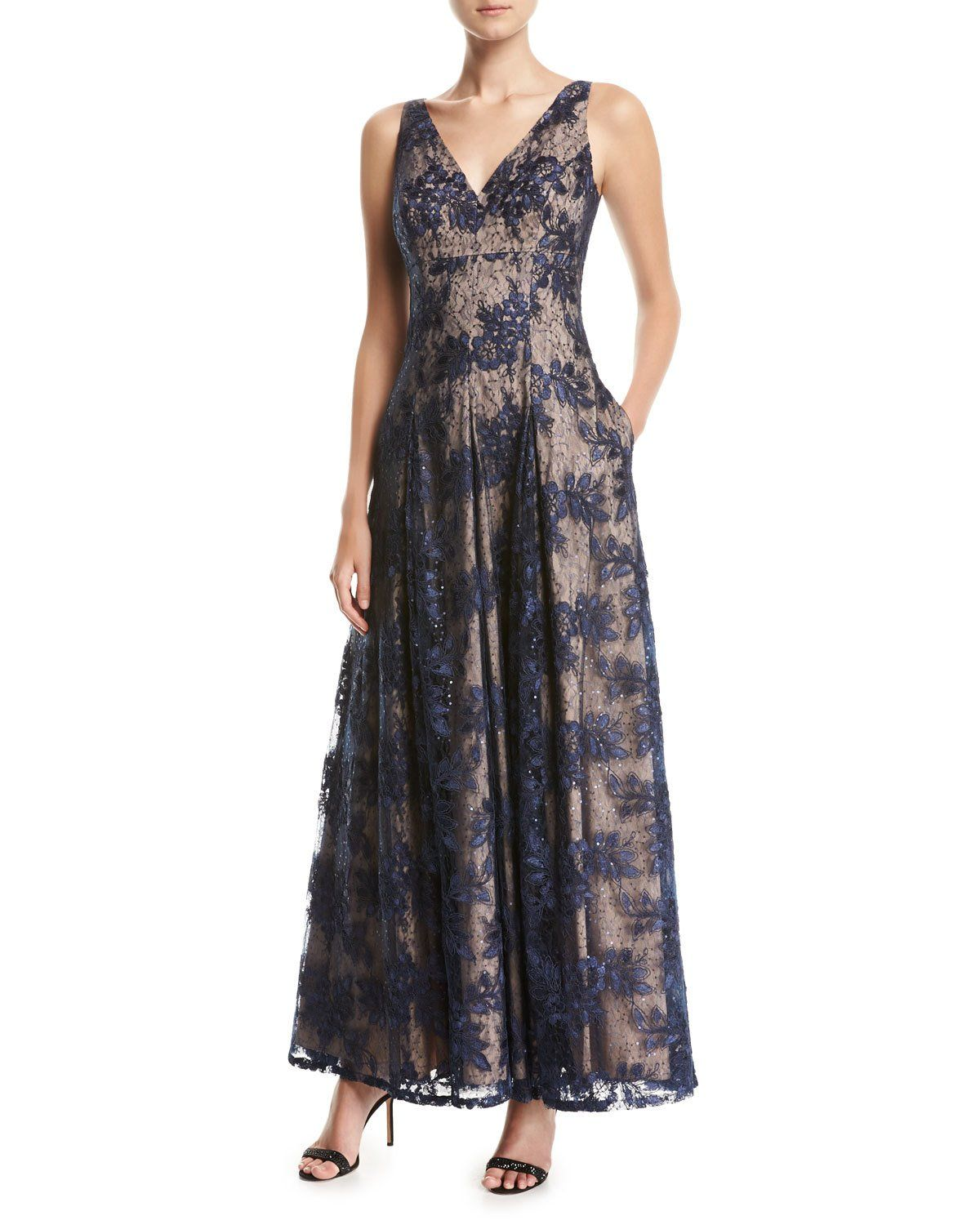 Sleeveless V-Neck Pleated Lace Evening Gown   Lace evening gowns ...