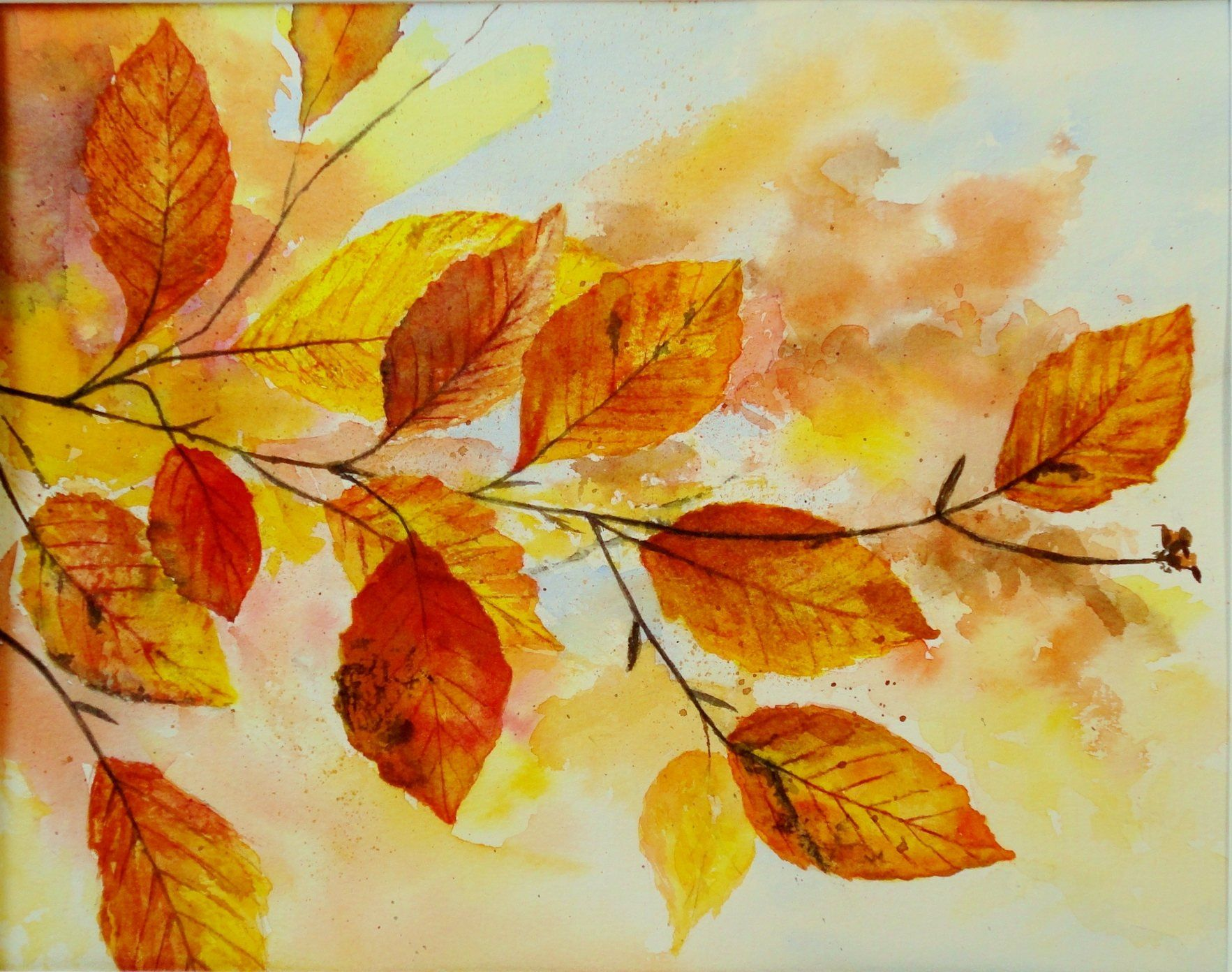Original Watercolor Painting Fall Leaves Watercolor Art Etsy