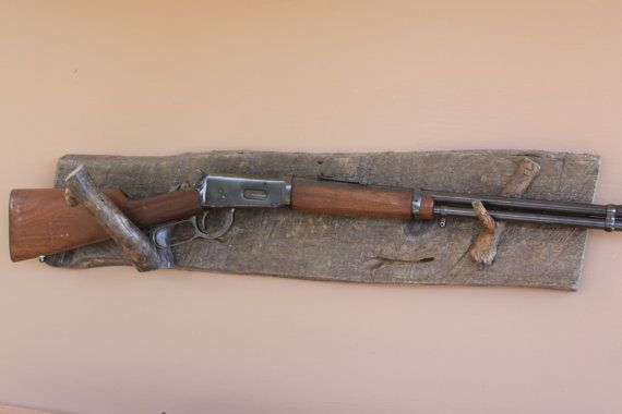 Long Gun Display Rack Bw 22 Weathered Pine Backing With