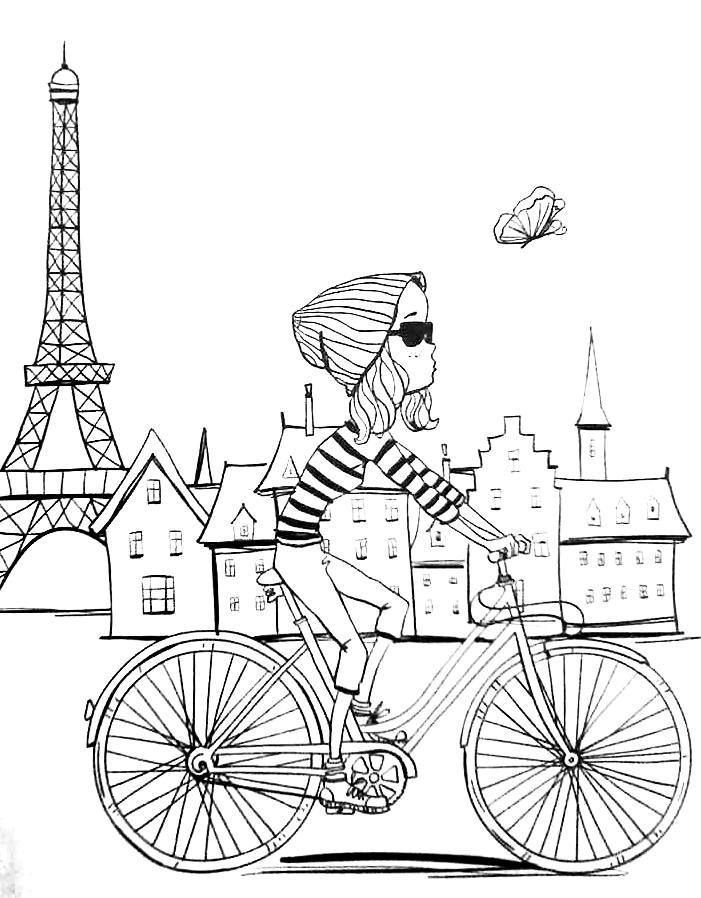 paris girl on a bike printable - Paris Coloring Book