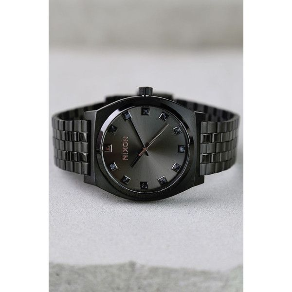 Nixon Time Teller Black Crystal and Rose Gold Watch ($125) ❤ liked on Polyvore featuring jewelry, watches, black, rose gold jewelry, crystal jewelry, nixon jewelry, crystal jewellery and rose watches