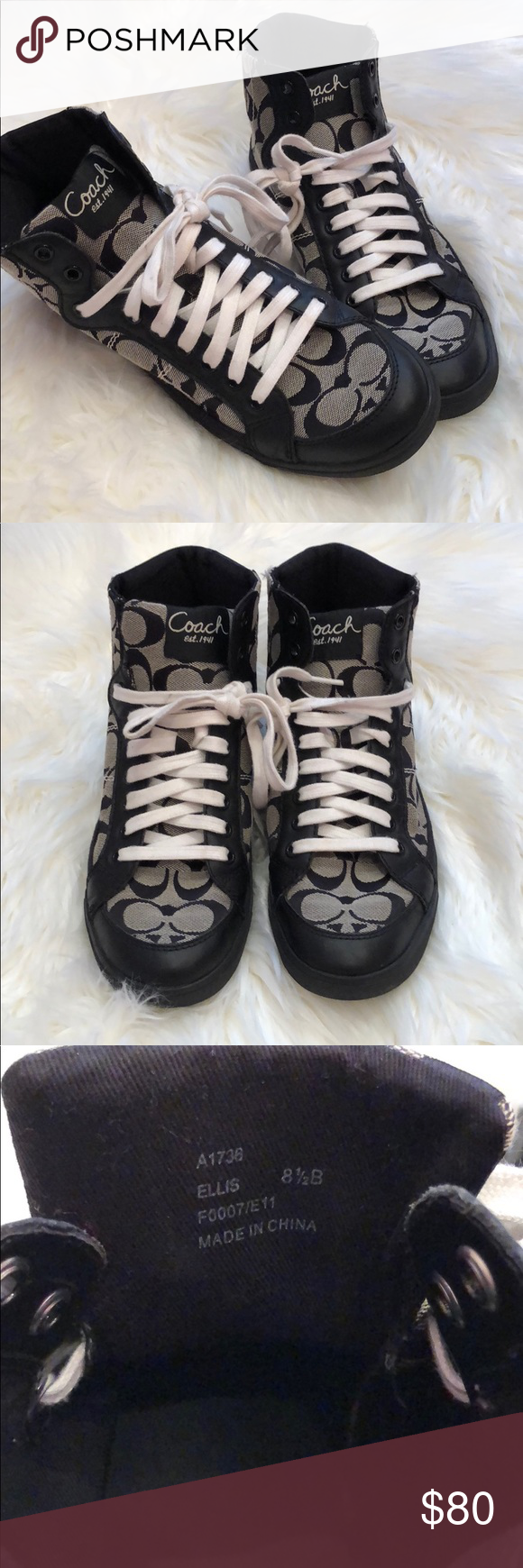 """1455b3dca1bb High Tops Like New!! ✨✨ Black Classic Coach """"C""""s print High tops with only  very slight signs of prior wear. Entertaining all offers. Coach Shoes  Sneakers"""