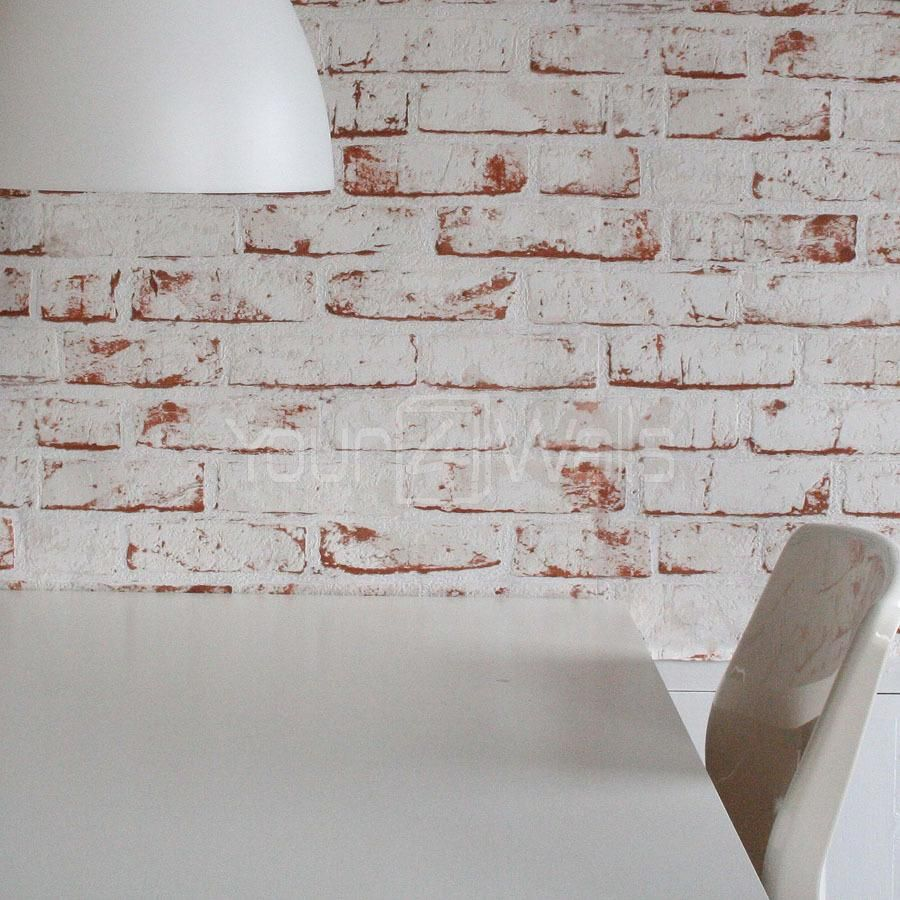 Photo of White Painted Reclaimed Brick Effect Wallpaper | White & Brown – Roll