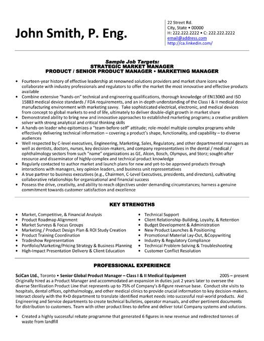A resume template for a Strategic Market Manager You can download - technical marketing engineer sample resume