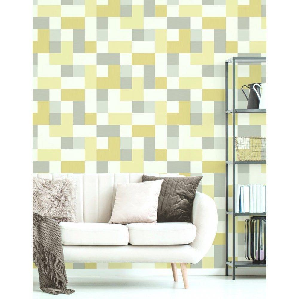 Latest Homedecor Ideas: Fine Decor Marino Idaho Grey & Yellow Cube Wallpaper
