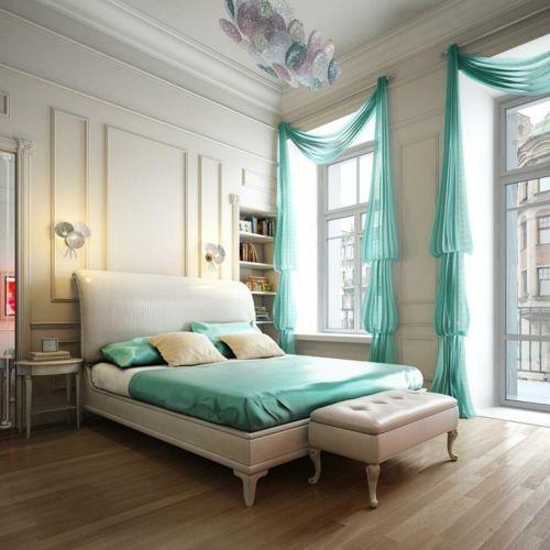 Schlafzimmer türkis Farbe | Türkis wohnen/living | Schlafzimmer ...
