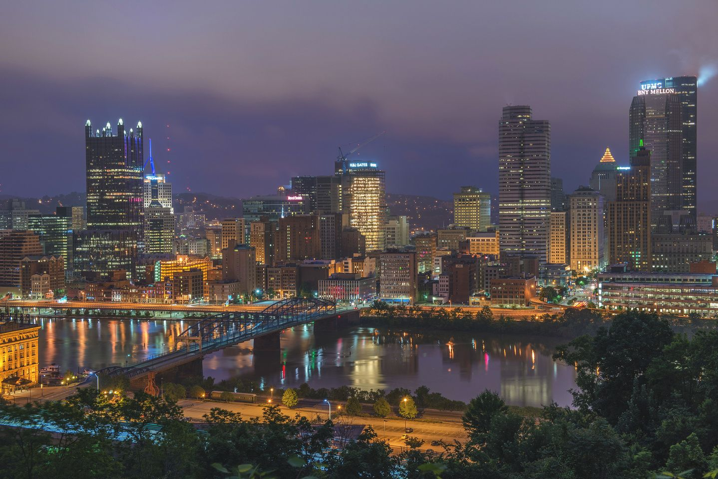 Close view of the Pittsburgh skyline before sunrise