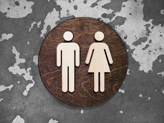 "Bathroom Sign Size office unisex restroom bathroom sign - wc signage - 6"" or 9"" size"