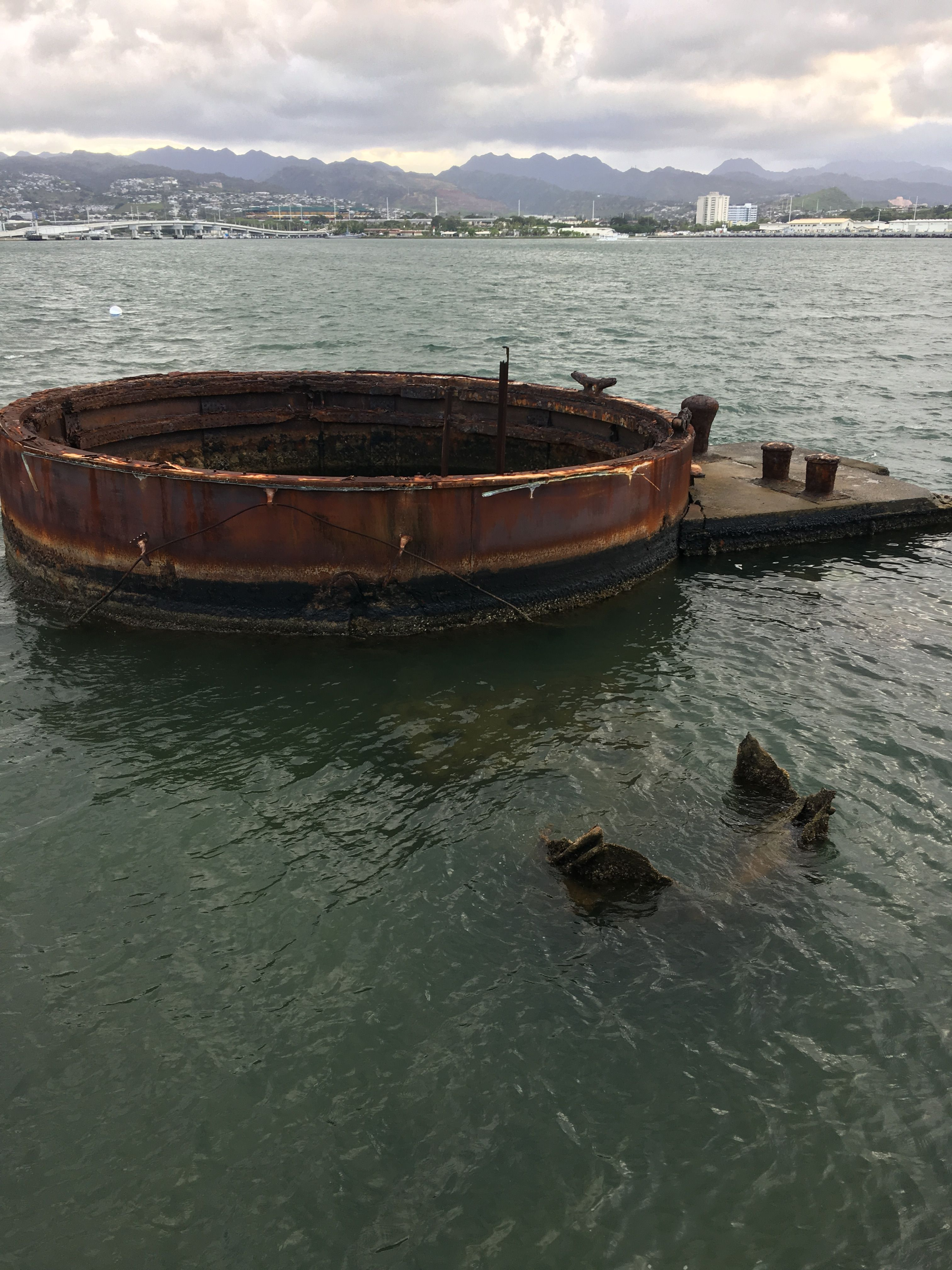 USS Arizona The only fully visible part or the ship