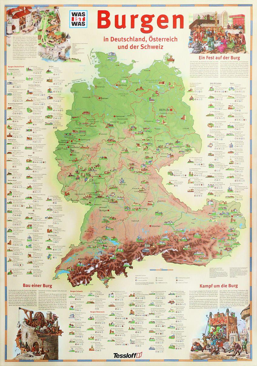 Karte Süddeutschland österreich Schweiz.Poster 131 Burgen In Deutschland österreich Und Der Schweiz