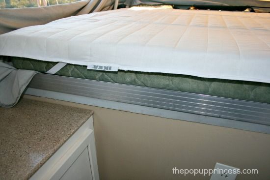 How We Sleep Comfortably In Our Pop Up Camper The Pop Up Princess Camper Mattress Camping Mattress Popup Camper