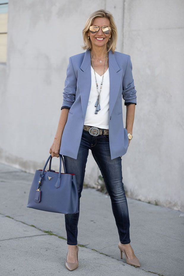 Debuting our brand new Colonial Blue Blazer on my blog today. Styled with a great Ivory V Neck Top, beautiful printed scarf and necklace. All available in our shop www.jacketsociety.com