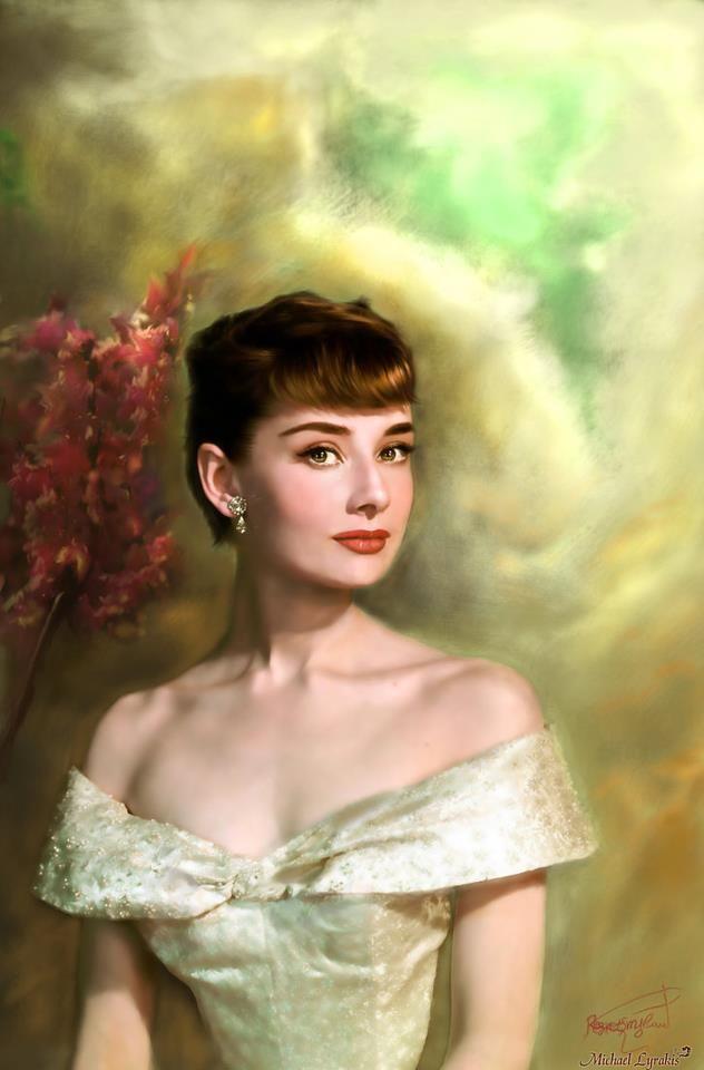 For attractive lips, speak words of kindness... -Audrey Hepburn  artist: Michael Lyrakis