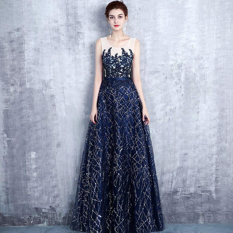 Evening dress strapless satin wedding sequined belt