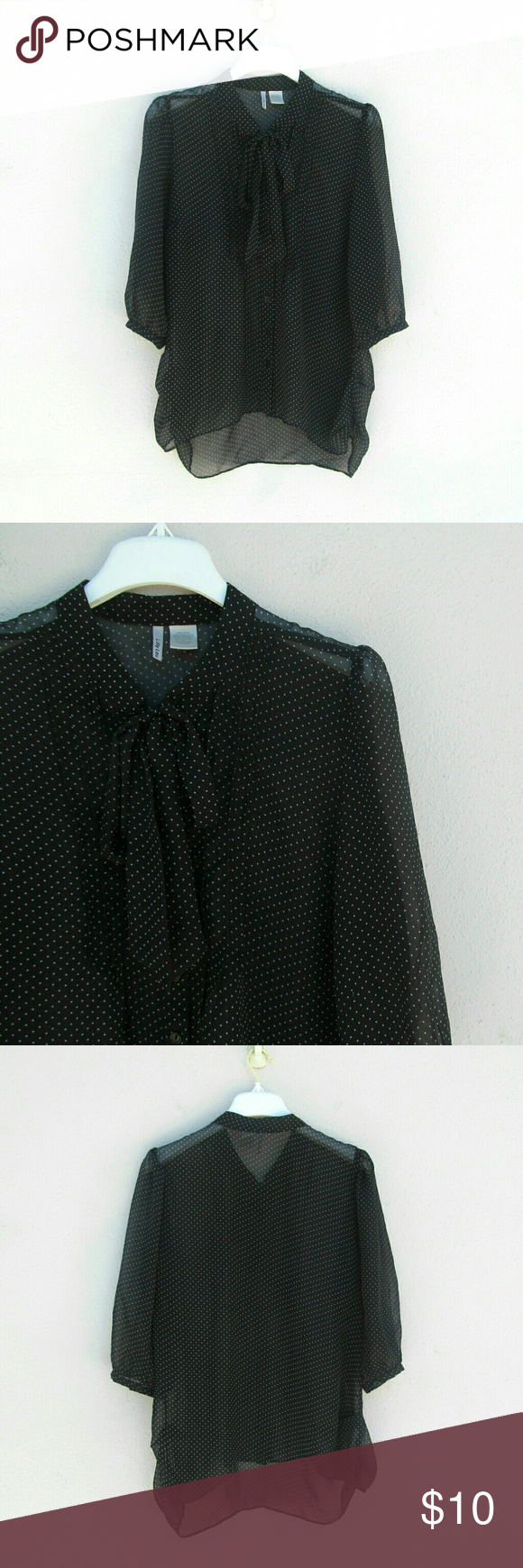 Cute Polka Dot Black Top Size Extra Large I offer bundle discounts :) Tops Blouses