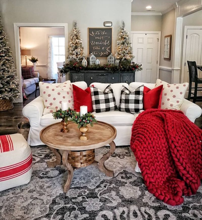 19 Festive Christmas Living Room Decor Ideas Christmas Decorations Living Room Red Christmas Decor Plaid Christmas Decor