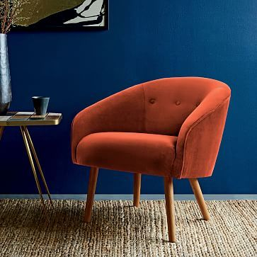Eve Buttoned Chair #westelm Platinum Linen Weave. $299