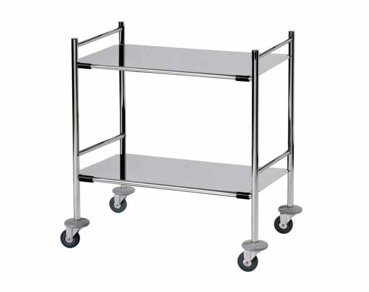 Mirror Polished Stainless Steel Surgical Trolley - 2 Removable Flat Shelves - HCE Health-Care Equipment