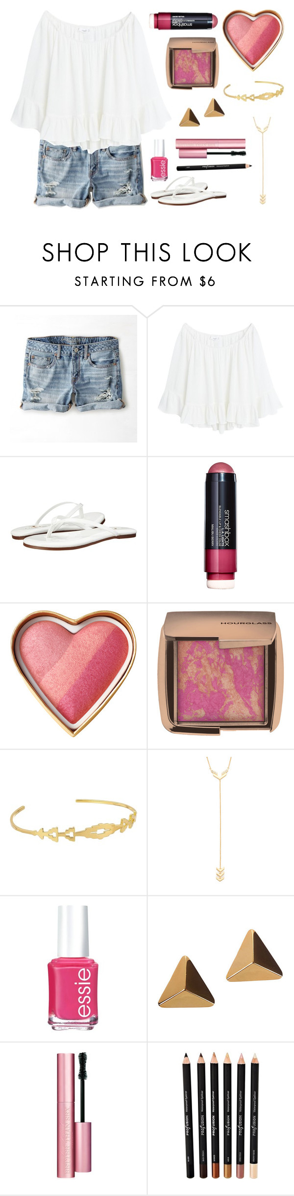 """Untitled #268"" by fashion4life11 ❤ liked on Polyvore featuring American Eagle Outfitters, MANGO, Yosi Samra, Smashbox, Hourglass Cosmetics, Gorjana, Essie and Too Faced Cosmetics"
