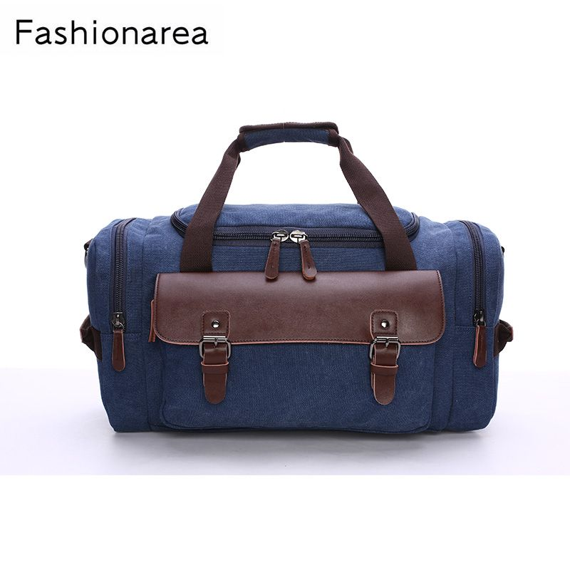ef60c3a18 Fashionarea Canvas Travel Bag Leather Cover Men Hand Luggage Travel Duffle  Bags Family Weekend Bags Multifunctional