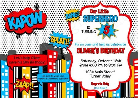 Example Of Choice Superhero Birthday Invitations With An