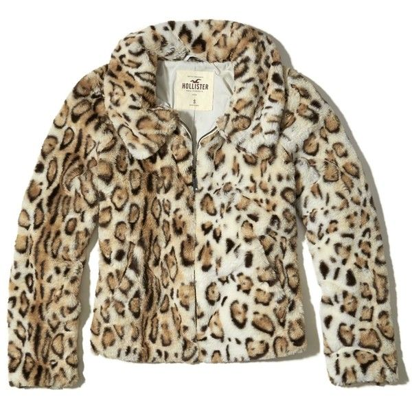 Hollister Faux Fur Bomber Jacket 230 Brl Liked On Polyvore Featuring Outerwear Jackets Cheetah Print Collar Jacket Faux Leather Bomber Jackets Brown Fa