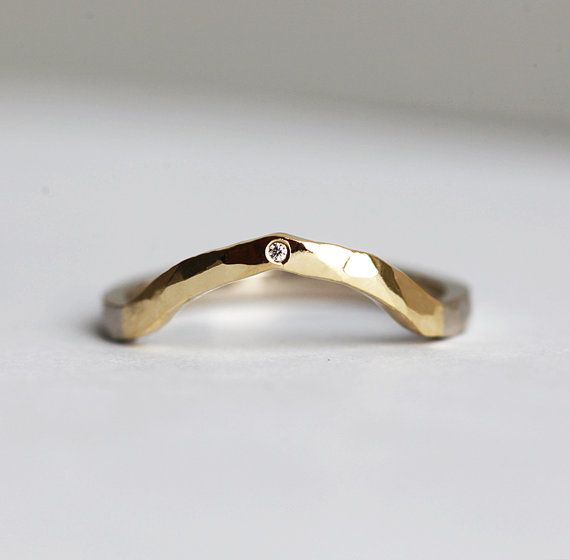Two Toned Hammered Ring With Diamond Curved Yellow And White Etsy Wedding Ring Diamond Band Hammered Wedding Bands Wedding Ring Bands