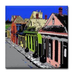 French Quarter Street Tile Coaster  Designed at Fig Street Studio.