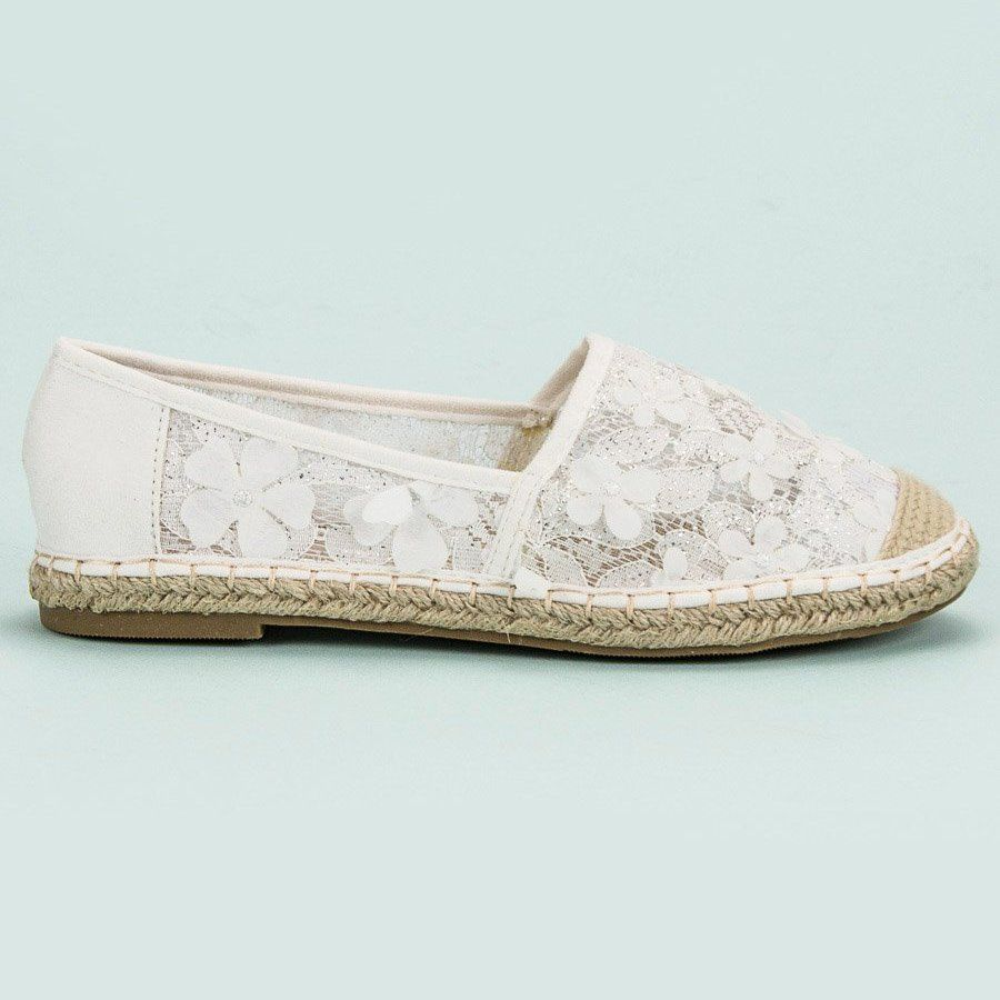 Nio Nio Koronkowe Espadryle W Kwiaty Biale Espadrilles Flat Espadrille Shoes