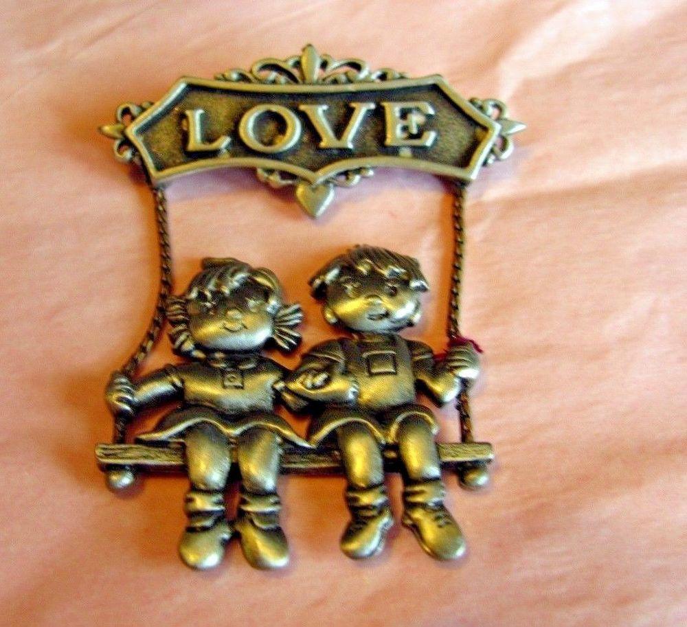 Vintage Love Pin JJ Jonette Jewelry Couple Swing Brooch Pewter Mother Gift Mom  #JonetteJewelry