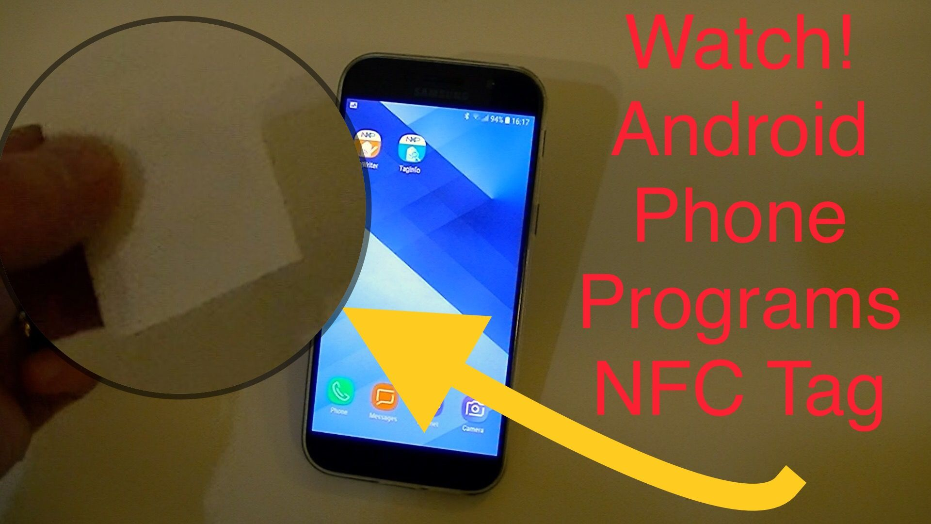Samsung Android Phone Programs a RFID NFC Tag Android