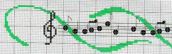 Rigo musicale, note, chiave musicale, pentagramma - punto croce - cross Stitch - Kreuzstich - Punto de Cruz