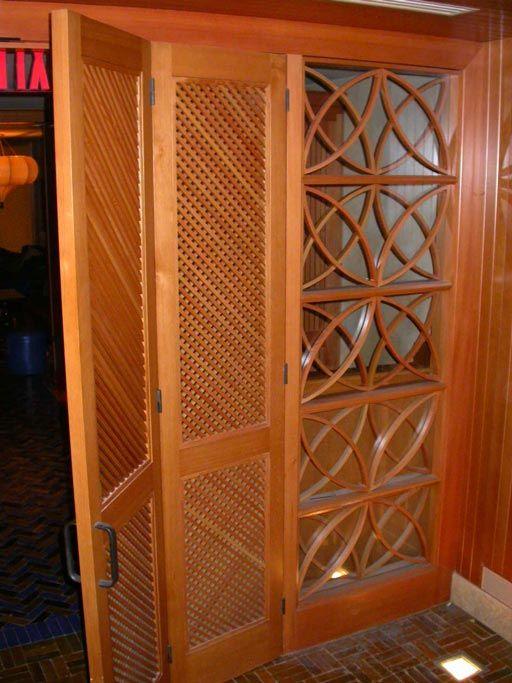 Exceptional Pair Of Custom Bi Fold Doors W/decorative Glass Panells