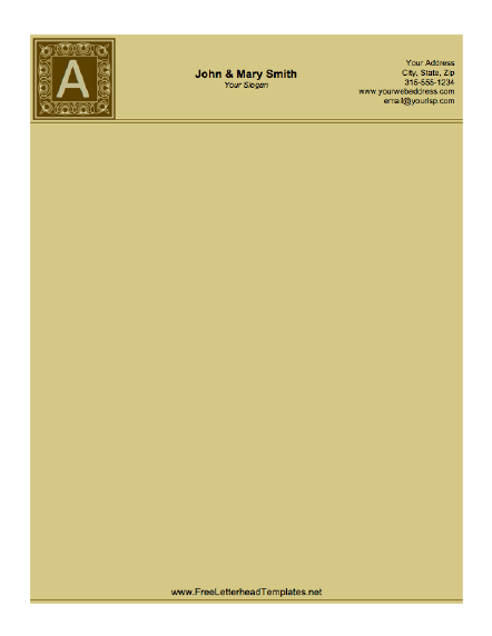 Brown tones and a classic feel comprise this monogram letterhead ...