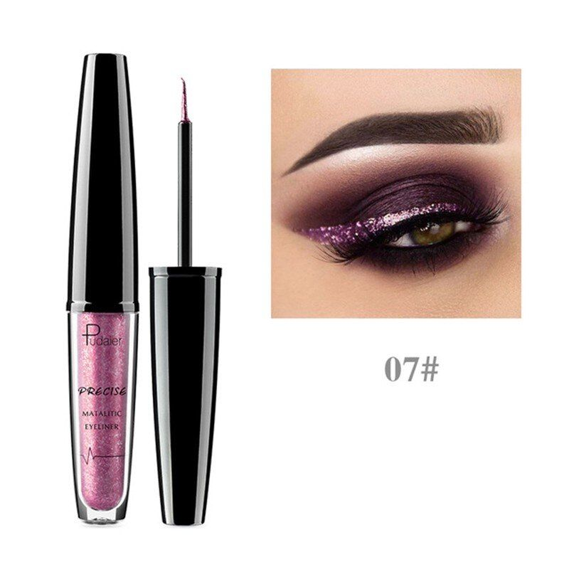 Pudaier New Makeup Shiny Eye Liner Cosmetics Waterproof Silver Gold Red Shimmer Long-lasting Eyeliner Liquid Glitter Makeup – as show-7