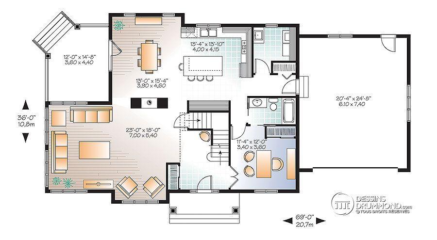 Détail du plan de Maison unifamiliale W3816-V1 Favoris