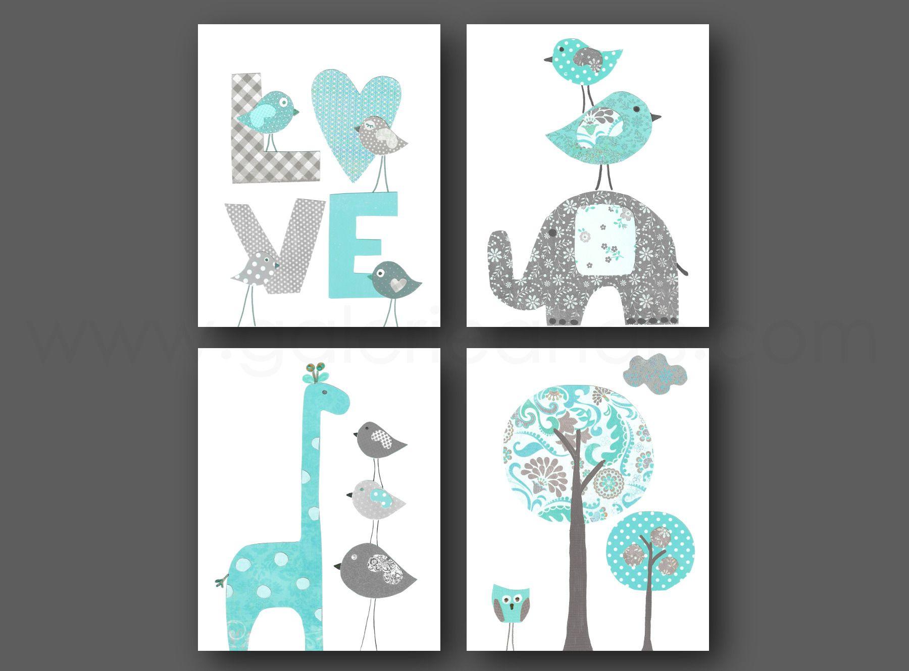 Lot de 4 illustrations pour chambre d 39 enfant et bebe bleu - Deco chambre bebe turquoise ...