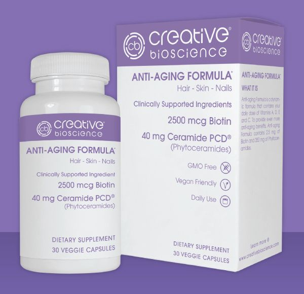 Creative Bioscience® Anti-Aging Formula is a dynamic formula that contains your daily dose of Vitamins A, D, E and C. To support even more anti-aging benefits, Anti-Aging Formula contains 2.5 mg of Biotin and 350 mg of Phytoceramides. This supplement is gluten-free and GMO-free.